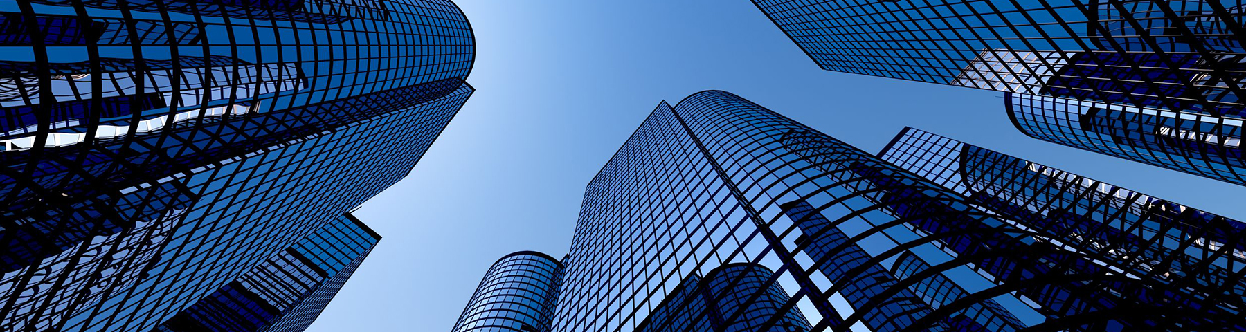 Blue skyscrapers denoting success and clients