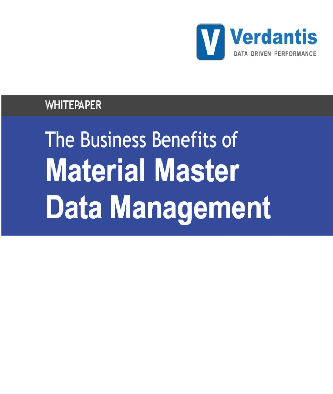 The Business Benefits of Material Master Data Management (MMDM)